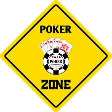 "*Aluminum* Poker Zone Funny Metal Novelty Sign 12""x12"""