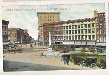 Court Street, Looking North, Trolleys WATERTOWN NY Vintage Postcard