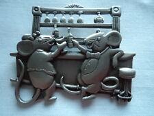 "Vintage Signed JJ  ""Silver pewter Bar Mice"" Brooch/Pin"