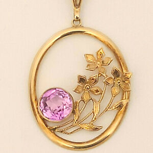 """Vintage 10K Oval Floral Pendant w/Man Made Pink Sapphire on 18"""" Chain Signed"""