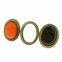 Retro lega Grande ovale Nero pietra ORO GOLD anello