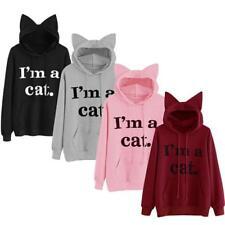 Women Cat Ear Pullover Hoodie Hooded Sweatshirt Letter Print