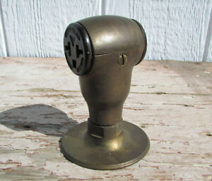 ANTIQUE RUSSELL & STOLL 2619 INDUSTRIAL BRASS ELECTRIC PLUG RECEPTACLE OUTLET
