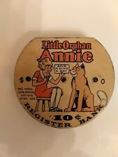 Beautiful Little Orphan Annie Dime Register Bank from 1936, Great Graphics!
