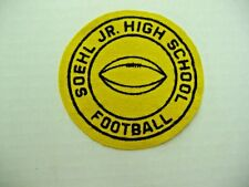 "Vintage Soehl Jr High School Football Felt Patch - circa 1959 -""Free Shipping"""