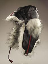 Mens Black Designer Trapper Hat, Faux Fur Trim. One Size, Winter Ski Hat