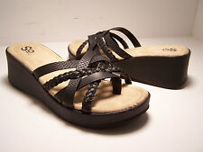 SO Phiona Womens Shoes Slip On Wedge Sandals Black Size 6 M NEW T-Strap