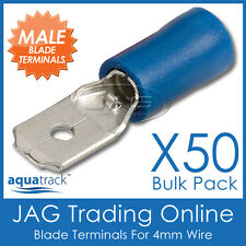 50 x BLUE INSULATED 6.3mm MALE BLADE CRIMP TERMINALS - CABLE CONNECTORS 4mm WIRE