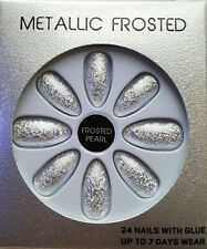 False nails Metallic Frosted Pearl Silver 24pk +glue Brand new Boxed
