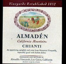 """ETIQUETTE ANCIENNE de VIN / ALMADEN """"CHIANTI"""" de CALIFORNIE (U.S.A.)"""