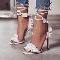 Women's Ladies Cross Strap Lace-Up Ruffles Stiletto High Heels Peep Toe Sandals