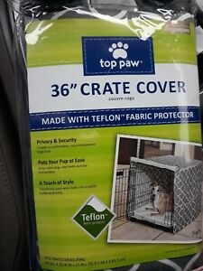 """Top Paw 36"""" Teflon Crate Cover Gray And White Side Panels For Multiple Doors"""