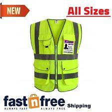 Jksafety 9 Pockets Class 2 High Visibility Zipper Front Safety Vest With Yellow