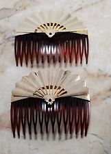 Vintage Hair COmb Pair Fan Toppers Tortoise Plastic Made in USA Signed Gold Tone