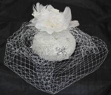 White Fascinator With Feathers, Flower And Lace