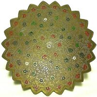 Vintage Brass Enamel Painted Engraved Etched Floral Flowers Tray India