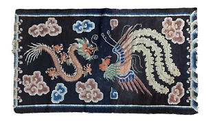 Antique Vintage Tibetan Dragon Khaden Rug Carpet Chinese Art Deco Distressed