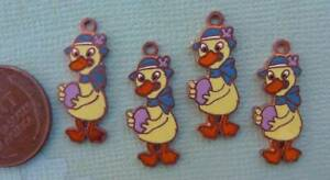 Very Vintage 9 x 24mm Enameled Copper Cloisonne Duck with Egg Charms 4