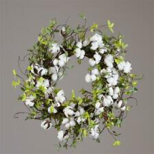 """Natural Cotton and Green Leaves 20"""" Twig Wreath"""