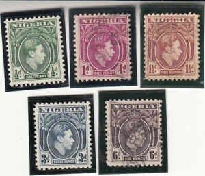 Nigeria 1938  King George VI. Mint and Used Stamps