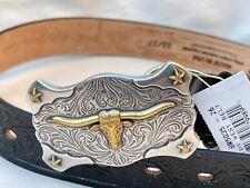 New Tony Lama Longhorn Black Embossed Leather Western Kids Belt Size 26