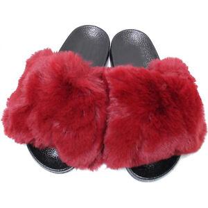 New Women's Color Fluff Furry Ultra Soft Faux Fur Slide Slipper Open Toe Slip On