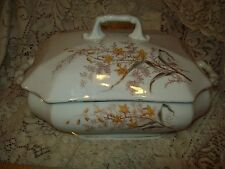 "Antique Unmarked Ironstone Handled Covered Casserole 12"" Gold Floral Transfer"