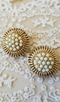 Vintag signed BERGERE earrings faux pearls milk color clip ons