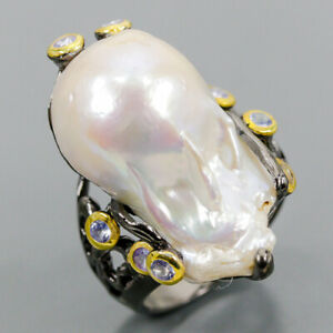 Vintage Art Unique  Baroque Pearl Ring Silver 925 Sterling  Size 8.5 /R160723