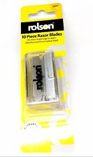 Rolson 10pc Pack Razor Carbon Steel Window Scraper Blades with Blade Dispenser