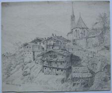 Taxenbach Salzburg Zell am See Gesamtansicht Bleistiftzeichnung 1939 signiert