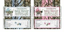 Personalized Blue Pink CAMOUFLAGE CAMO Baby Shower candy bar wrappers FREE FOILS