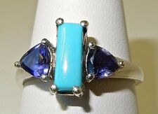 SLEEPING BEAUTY TURQUOISE AND IOLITE RING IN PLATINUM OVER 925 STERLING SILVER