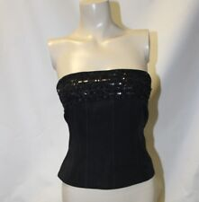 Ladies Black Beaded Bustier Top Size 8 Strapless Corset by Atmosphere