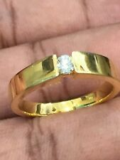 0,24 Cts Runde Brilliant Cut Diamant Verlobung Herren Ring In Solides 14K Gold