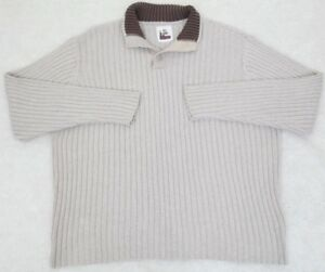 Old Navy Polo Sweater Henley Collared Beige Brown Men's Solid Cotton Man's Top