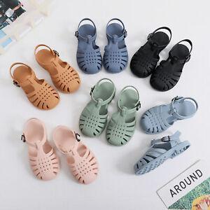 Kids Girls Toddlers Childrens Flat Summer Beach Jelly Shoes Sandals Flip Flops