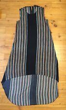 BCBG Max Azria Robe Tunique Sans Manches Polyester Bleu Raye XXS 36 FR