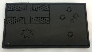 Australian Flag Patch, Black, PVC / Rubber, Subdued, Hook Rear, 8cm x 4.5cm