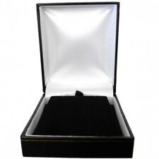 Luxury Leatherette Pendant Case Box Black Gold Stripe Gift Presentation - SP825