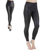 Women Black High Waist PVC Wet Look Full Leggings Ladies Pants Trouser Size 8-18