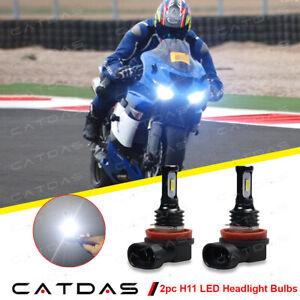H11 LED Headlight Conversion Kit Bulbs 6000K For Kawasaki Ninja ZX10R 2006-2010