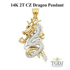 14K Solid Gold  Two Tone CZ Dragon Pendant,14K Two Tone