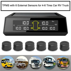 Solar Wireless TPMS+6pc External Sensors For Car Truck Bus Tyre Real Time Status