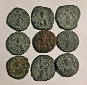 LOT OF 9 Arab-Byzantine АЕ Fals Umayyad Caliphate Emesa mint #10