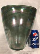 "New 10"" Alabaster Glass Art Vase  Green Oval Decorative -Turkey"