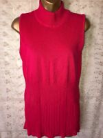 Renuar  Sleeveless mock Turtleneck Sweater Size M hot pink brand new with tags
