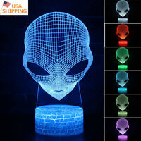 3D Alien Head Lamp Touch/Remote Acrylic LED Night Light Table Desk Lamp Kid Gift