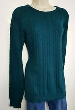 JACK WILLS CABLE KNIT JUMPER SWEATER UK 12 SACRAMENTO GREEN WOOL COTTON 722