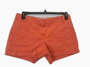 J Crew Women's Chino Coral Flat Front Dress Shorts Size 8 100% Cotton